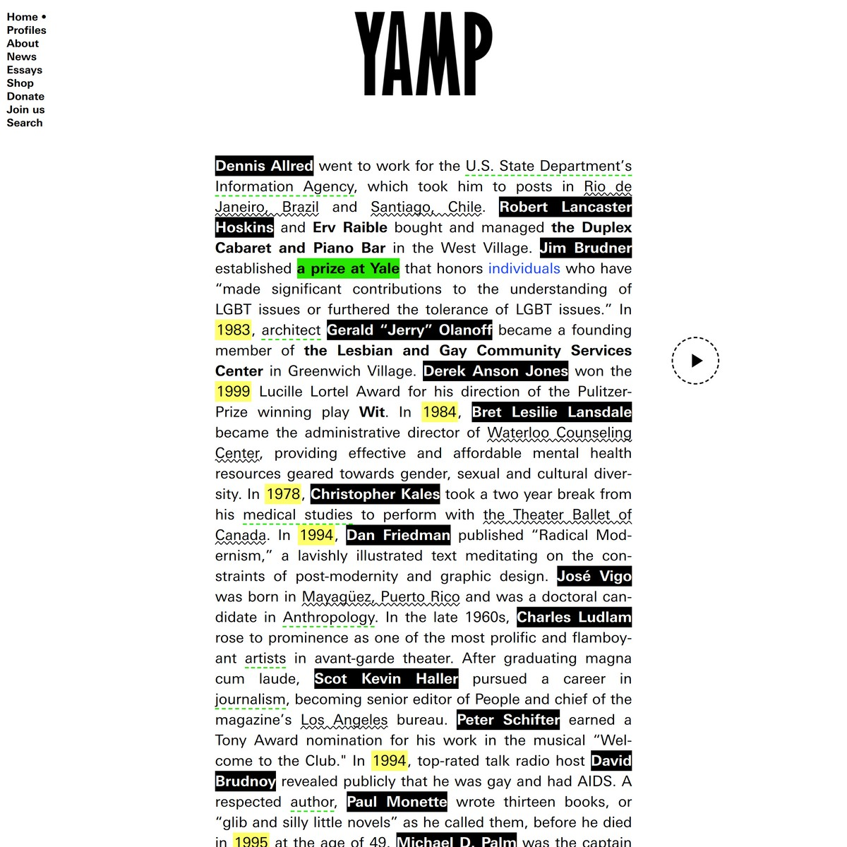 The Yale AIDS Memorial Project (YAMP) is an alumni-led initiative to honor and document the lives of hundreds of men and women from the University who perished during the AIDS epidemic.