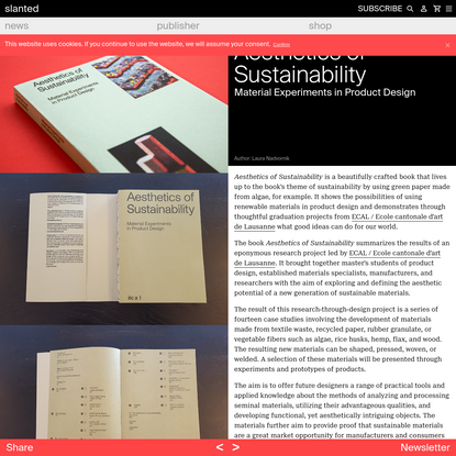 Aesthetics of Sustainability - Research Project led by ECAL - slanted