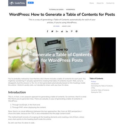WordPress: How to Generate a Table of Contents for Posts - CodePicky