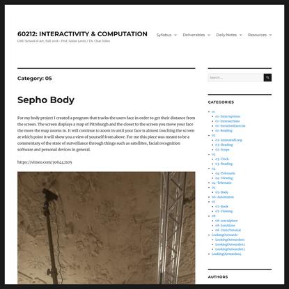 05 – 60212: INTERACTIVITY & COMPUTATION