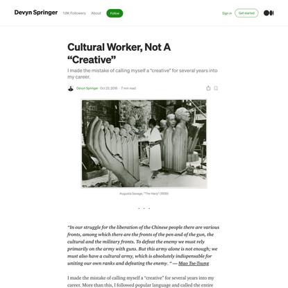 "Cultural Worker, Not A ""Creative"""