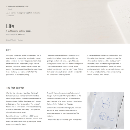 Life - A tactile comic for blind people | Philipp Meyer