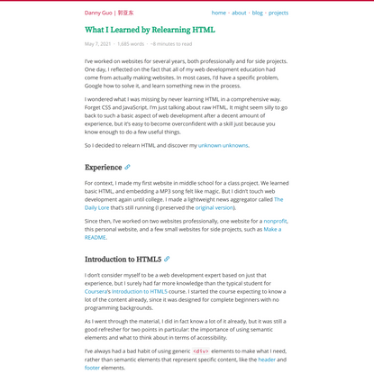 What I Learned by Relearning HTML
