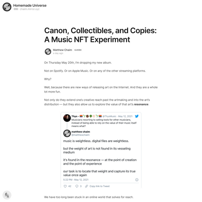 Canon, Collectibles, and Copies: A Music NFT Experiment — Mirror