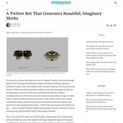 A Twitter Bot That Generates Beautiful, Imaginary Moths
