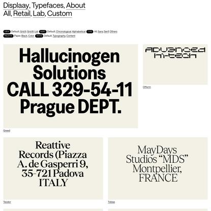 Typefaces - Displaay Type Foundry