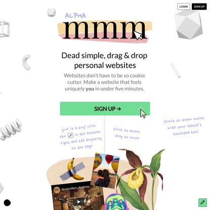 mmm.page | dead simple, drag & drop personal websites