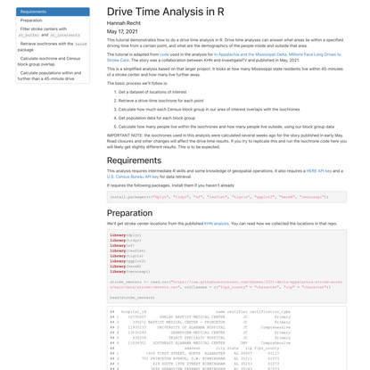 Drive Time Analysis in R