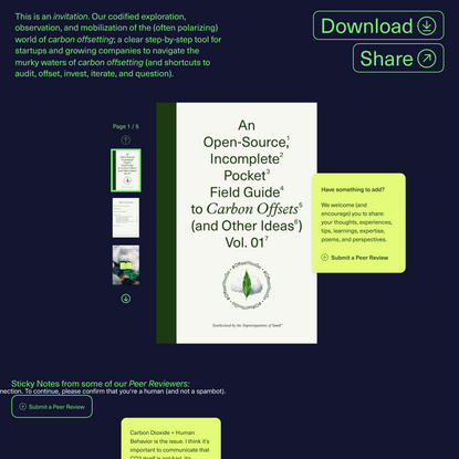 An Open-Source, Incomplete, Pocket Field Guide to Carbon Offsets (and Other Ideas) Vol. 01 • Seed