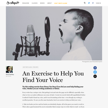 An Exercise to Help You Find Your Voice | Simon Van Booy