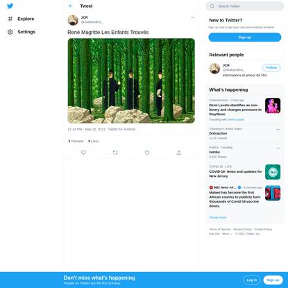 """JCR on Twitter: """"René Magritte Les Enfants Trouvés pic.twitter.com/Rdy7EjLIXy / Twitter"""""""