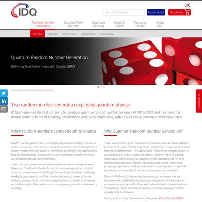Quantum Random Number Generation (QRNG) - ID Quantique