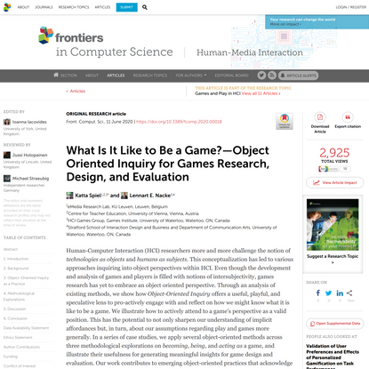 What Is It Like to Be a Game?—Object Oriented Inquiry for Games Research, Design, and Evaluation