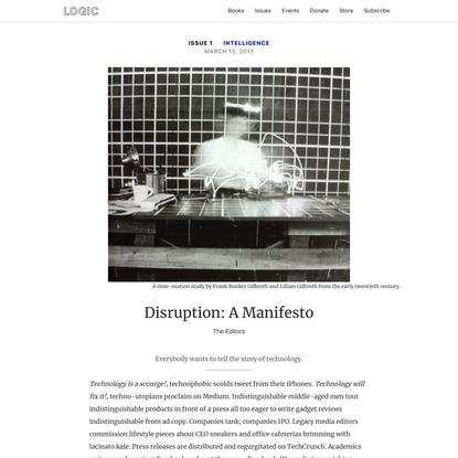 Disruption: A Manifesto