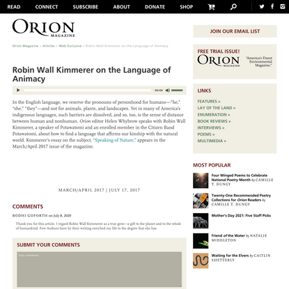 Orion Magazine | Robin Wall Kimmerer on the Language of Animacy