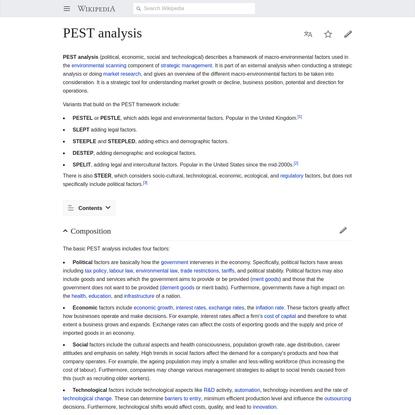PEST analysis - Wikipedia