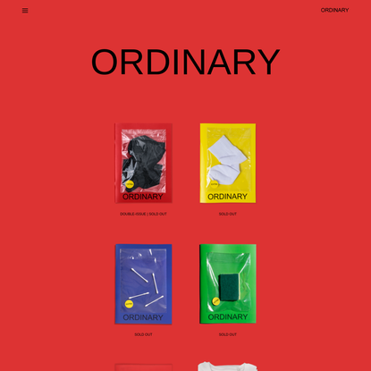 ORDINARY - Ordinary is a quarterly fine art photography magazine featuring over 20 artists from around the world who are sent one ordinary object, which comes as an extra, to make it extra-ordinary.