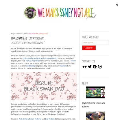 BLACK SWAN DAO: Can blockchain democratise arts commissioning?
