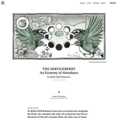 The Serviceberry: An Economy of Abundance –Robin Wall Kimmerer