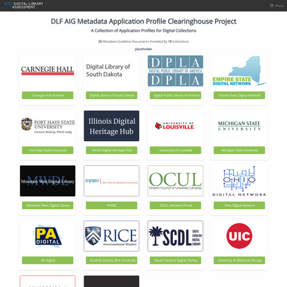 DLF AIG Metadata Application Profile Clearinghouse
