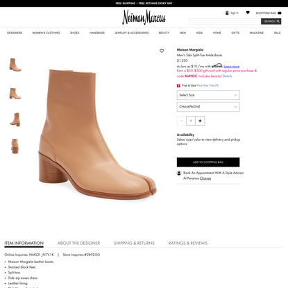 Maison Margiela Men's Tabi Split-Toe Ankle Boots
