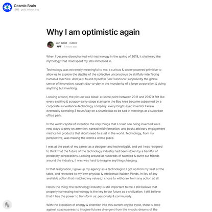 Why I am optimistic again — Mirror