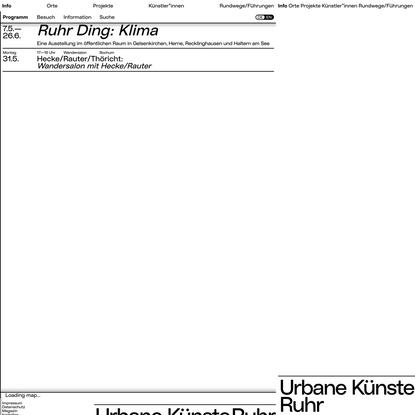 Ruhr Ding: Klima - Urbane Künste Ruhr