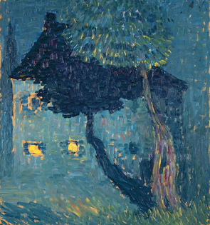 Alexei Jawlensky • Waldhäuschen (Cottage in the Woods) signed with the initials A.J. (upper right); signed A. Jawlensky, titled, dated 1903 and numbered N.2 (on the reverse)  oil on board