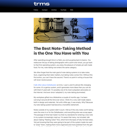 The Best Note-Taking Method is the One You Have with You – trms