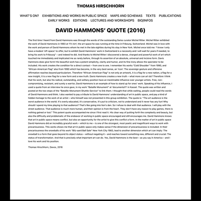 David Hammons' quote (2016) - Thomas Hirschhorn