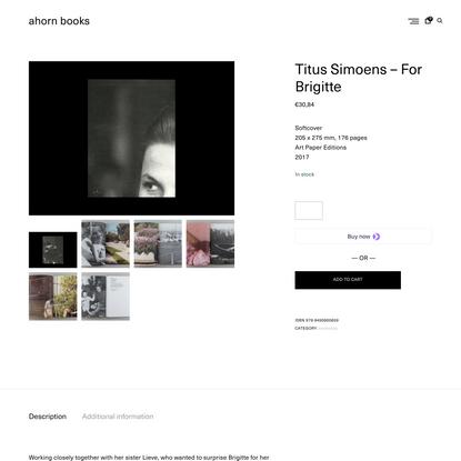 ahorn books   Titus Simoens - For Brigitte