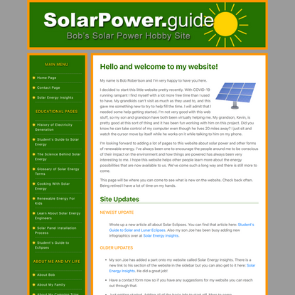 Welcome to Bobs Solar Power Hobby Site!