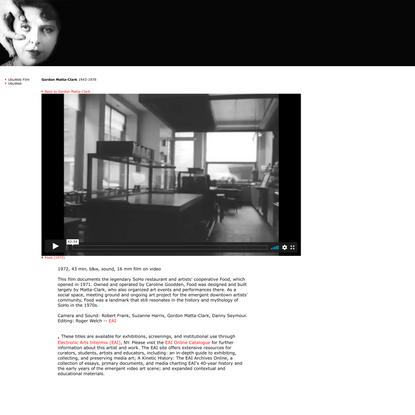 UbuWeb Film & Video: Gordon Matta-Clark - Food (1972)