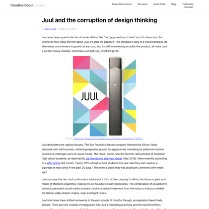 Juul and the corruption of design thinking