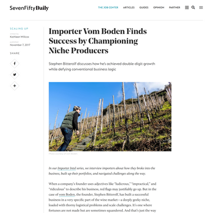 Importer Vom Boden Finds Success by Championing Niche Producers | SevenFifty Daily