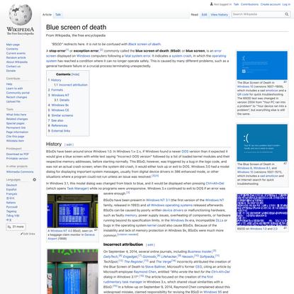 Blue screen of death - Wikipedia
