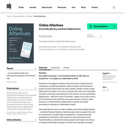 Online Afterlives | The MIT Press