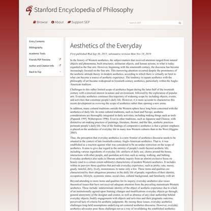 Aesthetics of the Everyday (Stanford Encyclopedia of Philosophy)