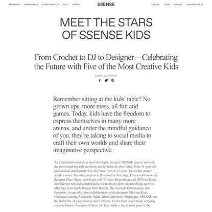 Meet the Stars of SSENSE Kids