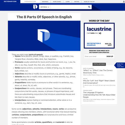The 8 Parts Of Speech In English - Dictionary.com