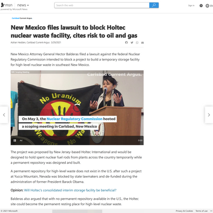 New Mexico files lawsuit to block Holtec nuclear waste facility, cites risk to oil and gas