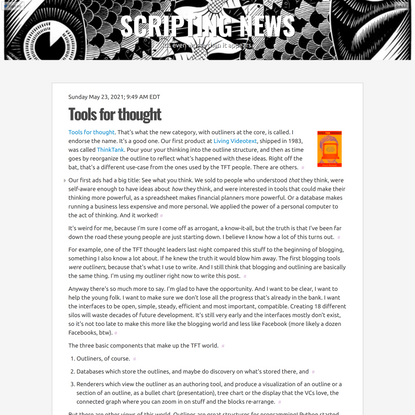 Scripting News: Tools for thought