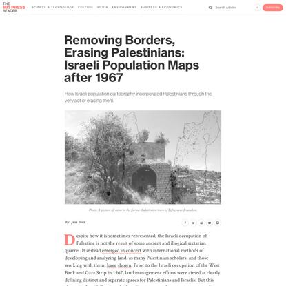 Removing Borders, Erasing Palestinians: Israeli Population Maps after 1967