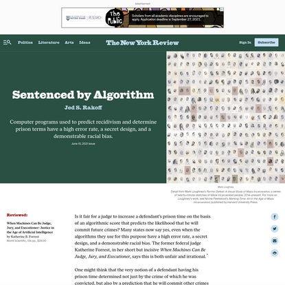 Sentenced by Algorithm   by Jed S. Rakoff   The New York Review of Books
