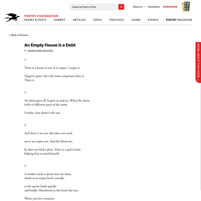 An Empty House Is a Debt by Diana Khoi Nguyen   Poetry Foundation