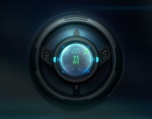 Futuristic Steering Wheel with LCD GUI User Interface
