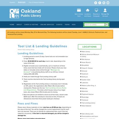 Tool List & Lending Guidelines   Oakland Public Library
