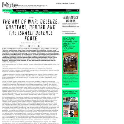 The art of war: Deleuze, Guattari, Debord and the Israeli Defence Force