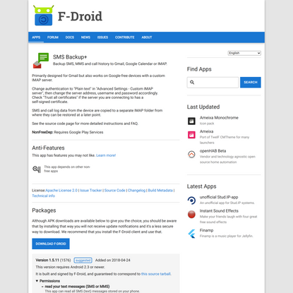 SMS Backup+   F-Droid - Free and Open Source Android App Repository