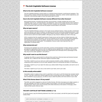 The Anti-Capitalist Software License